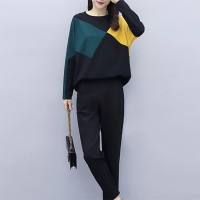 Geometric Shaped Two Piece Casual Suit - Black