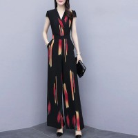 Printed Colorful Jumpsuit V Neck Short Sleeves Full Romper Dress
