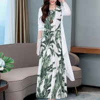 Leaves Print Round Neck Two Pieces Maxi Dress - Green