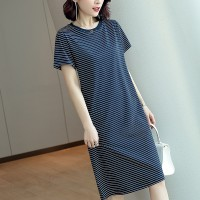 Round Neck Short Sleeves Printed Stripes Mini Dress - Blue
