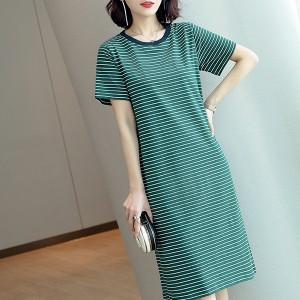 Round Neck Short Sleeves Printed Stripes Mini Dress - Green