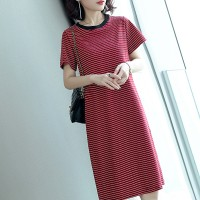 Round Neck Short Sleeves Printed Stripes Mini Dress - Red