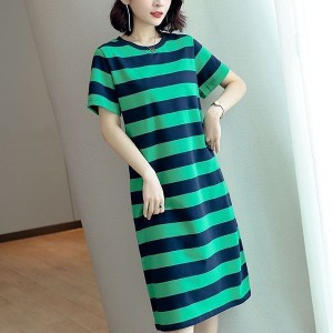 Cocktail Casual Wear Average Length Short Sleeved Dress - Green