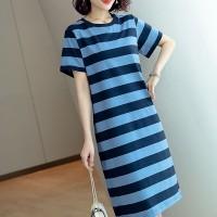 Cocktail Casual Wear Average Length Short Sleeved Dress - Blue