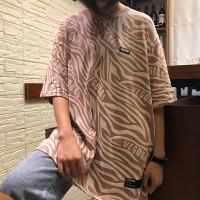 Baggy Vintage Fashion Round Neck Zebra Prints Top - Pink