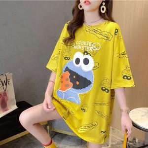 Cartoon Prints Loose Women Fashion Vintage Style Tops - Yellow
