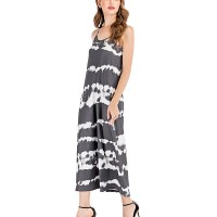 Spaghetti Strap Digital Prints Full Length Cocktail Dress - Gray