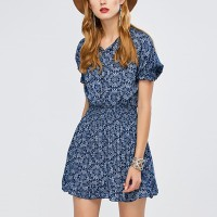 Floral Mini Printed Notched Neck Dress