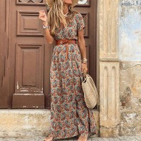 Wrapped Style V Neck Waist Belt Maxi Dress