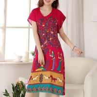 Bohemian Printed Thin Fabric Women Elegant Dress - Red
