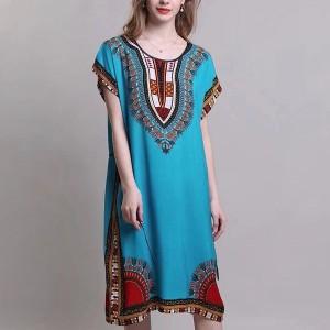 Bohemian Printed Thin Fabric Women Elegant Dress - Sky Blue