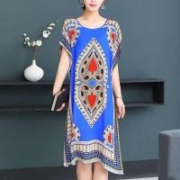 Bohemian Printed Thin Fabric Women Elegant Dress - Blue