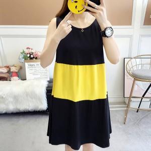 Contrast Casual Summer Wear Women Mini Dress - Yellow