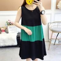 Contrast Casual Summer Wear Women Mini Dress - Green