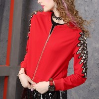 Zipper O Neck Winter Style Mini Outwear Jacket - Red