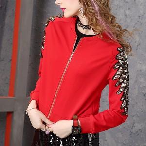 Zipper O Neck Winter Style Mini Outwear Jacket - Red