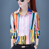 Striped Printed Long Sleeves Button Up Shirt