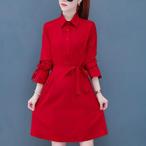 Shirt Collar Printed Women Fashion Cocktail Mini Dress - Red