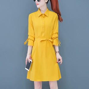 Shirt Collar Printed Women Fashion Cocktail Mini Dress - Yellow
