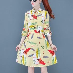 Shirt Collar Printed Women Fashion Cocktail Mini Dress - Multicolor