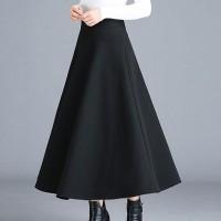 Pleated A-Line Formal Wear Bottom Skirt - Black