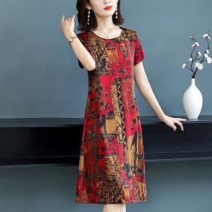 Short Sleeved Digital Prints Round Neck Mini Dress - Red