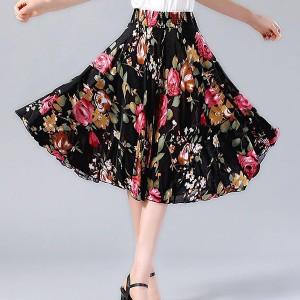 Elastic Waist Free Size Mini Fashion Wear Skirt - Black