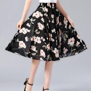 Black Variant Elastic Waist Free Size Mini Fashion Wear Skirt - Black and White