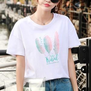 Women Fashion Summer Loose T-Shirt - Pink