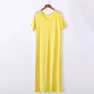 Solid Short Sleeved Midi Casual Dress - Yellow