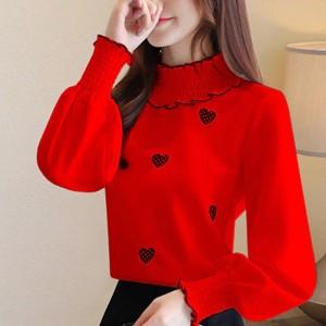 Heart Prints Thin Fabric All Season Wear Blouse Top - Red