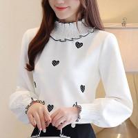 Heart Prints Thin Fabric All Season Wear Blouse Top - White