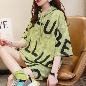 Hoodie Alphabetic Loose Wear Women T-Shirt - Green