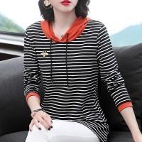 Hoodie Stripes Print Long Sleeved Winter Hoodie Top - Orange