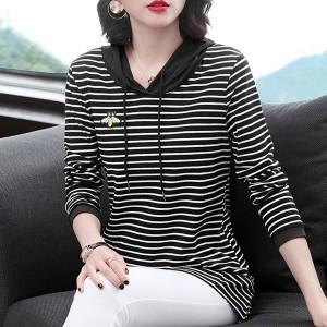 Hoodie Stripes Print Long Sleeved Winter Hoodie Top - Black and White