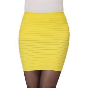 Pleated Body Fitted Women Fashion Mini Skirt - Yellow