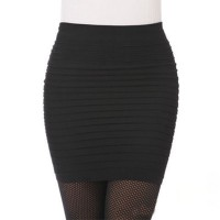 Pleated Body Fitted Women Fashion Mini Skirt - Black