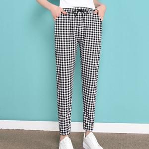 Square Print Elastic Waist Narrow Bottom Casual Trouser Pants