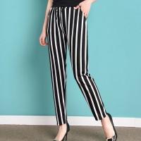 Stripes Print Elastic Waist Narrow Bottom Casual Trouser Pants - Black And White