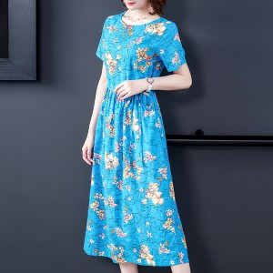 Round Neck Short Sleeves Floral A-Line Midi Dress - Blue