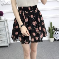 Printed Floral Short Length Pleated Women Skirts - Black
