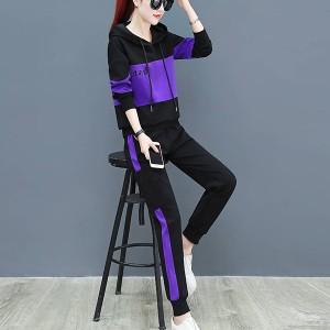 Hoodie Style Contrast Full Sleeves Women Fashion Suit - Purple