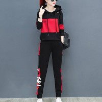 Hoodie Style Contrast Full Sleeves Women Fashion Suit - Red