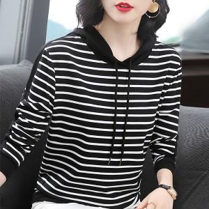 Stripes Print Hoodie Women Fashion Winter Top - Black