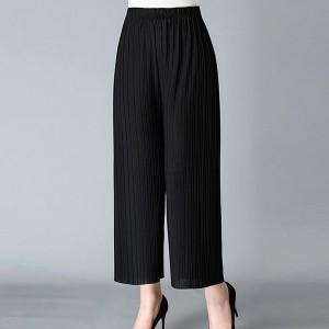 Loose Style Pleated Elastic Waist Women Fashion Trouser Pants - Black
