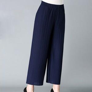 Loose Style Pleated Elastic Waist Women Fashion Trouser Pants - Dark Blue
