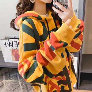 Loose Hoodie Style Women Fashion Winter Tops - Yellow
