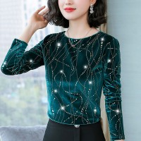 Decorative Round Neck Party Wear Elegant Top - Green