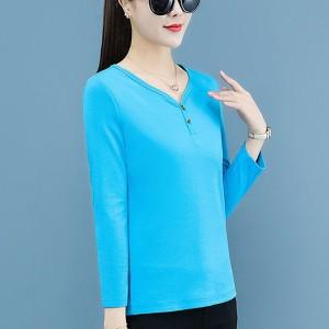 V Neck Long Sleeved Solid Color Blouse Top - Blue