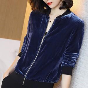 Zipper Closure Long Sleeves Outwear Casual Jacket - Blue